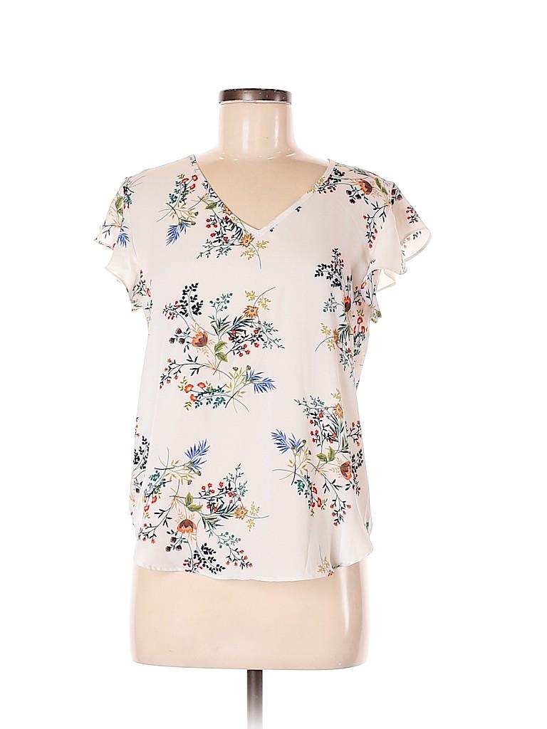 Lily White Women Short Sleeve Blouse Size M