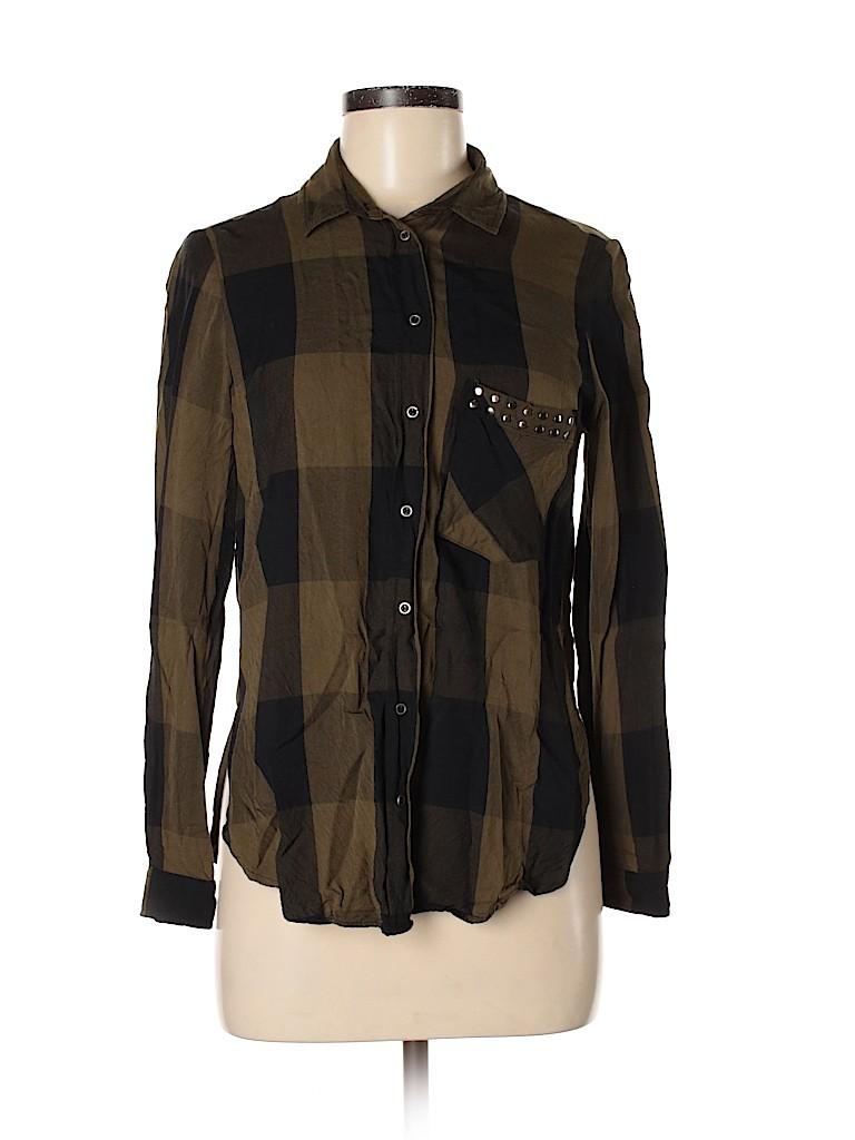 Zara Basic Women 3/4 Sleeve Button-Down Shirt Size M