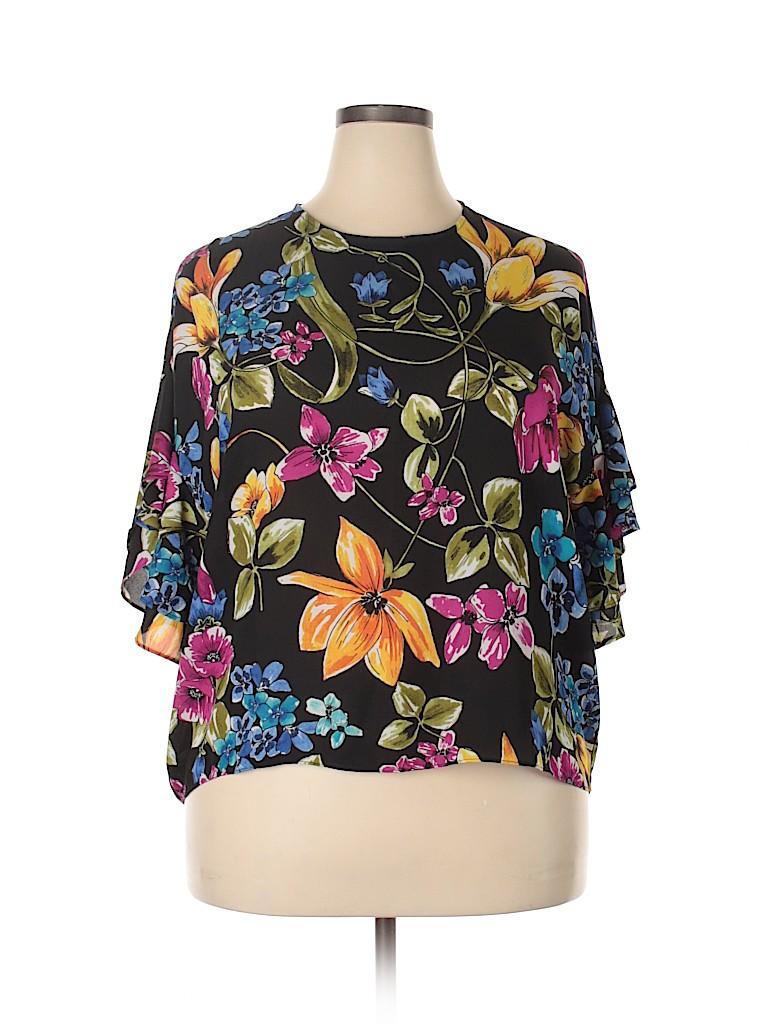 Ellen Weaver Women 3/4 Sleeve Blouse Size 1X (Plus)