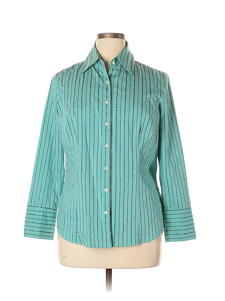 Merona Women Long Sleeve Button-Down Shirt Size 16W