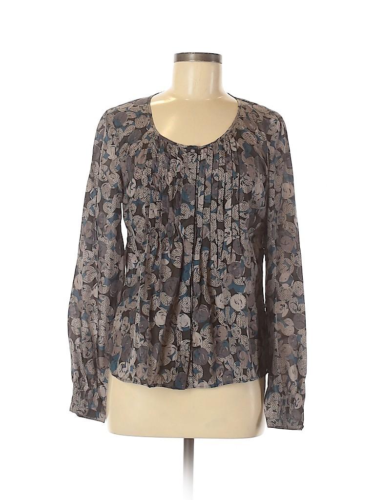 Rafaella Women Long Sleeve Silk Top Size 8