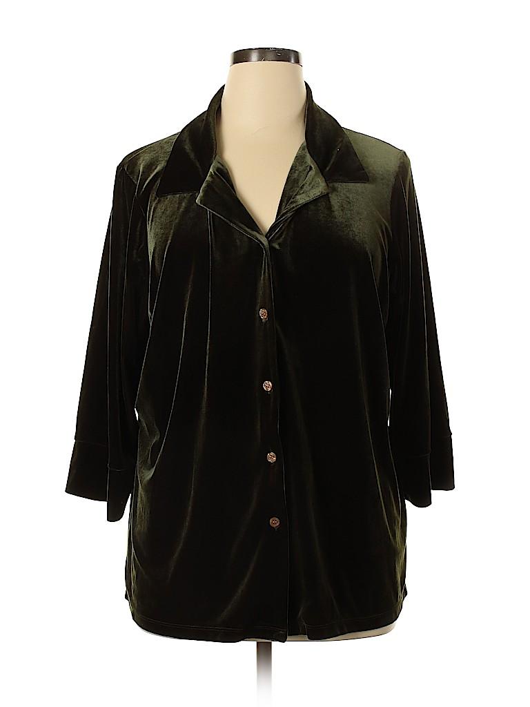 Avenue Women 3/4 Sleeve Button-Down Shirt Size 22 (Plus)