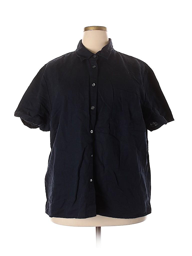 Style&Co Women Short Sleeve Button-Down Shirt Size 24 (Plus)