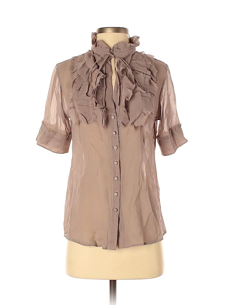 Gold Hawk Women Short Sleeve Silk Top Size S