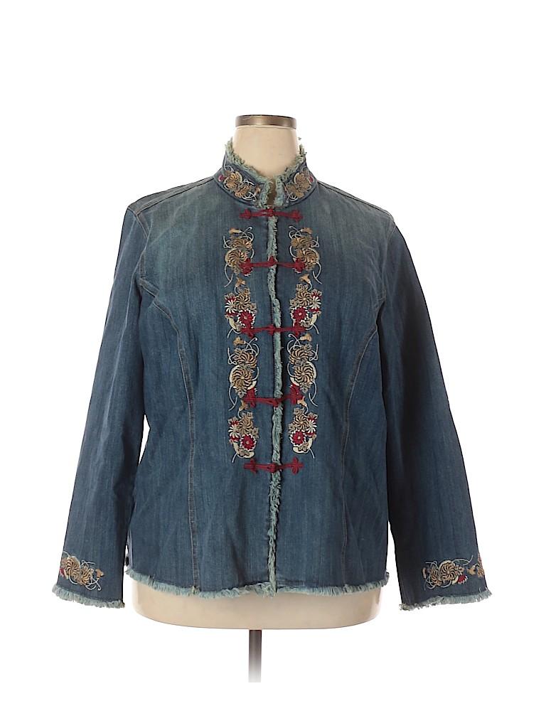 INC International Concepts Women Denim Jacket Size 1X (Plus)