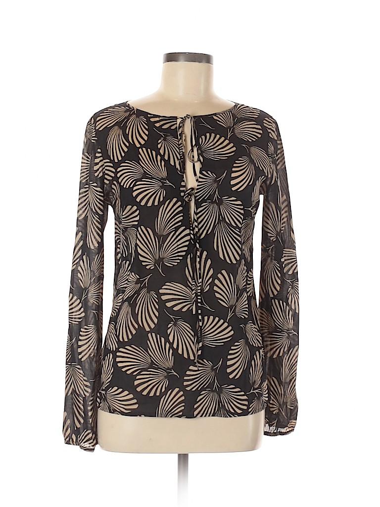 Theory Women Long Sleeve Silk Top Size M