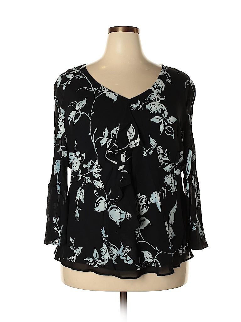 Donna Ricco Women Long Sleeve Blouse Size 22W (Plus)