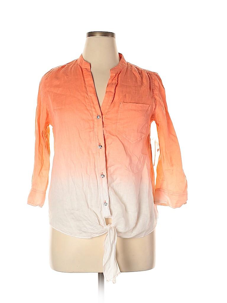 INC International Concepts Women 3/4 Sleeve Button-Down Shirt Size 14