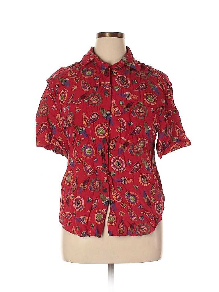 Leslie Fay Women Short Sleeve Blouse Size 14