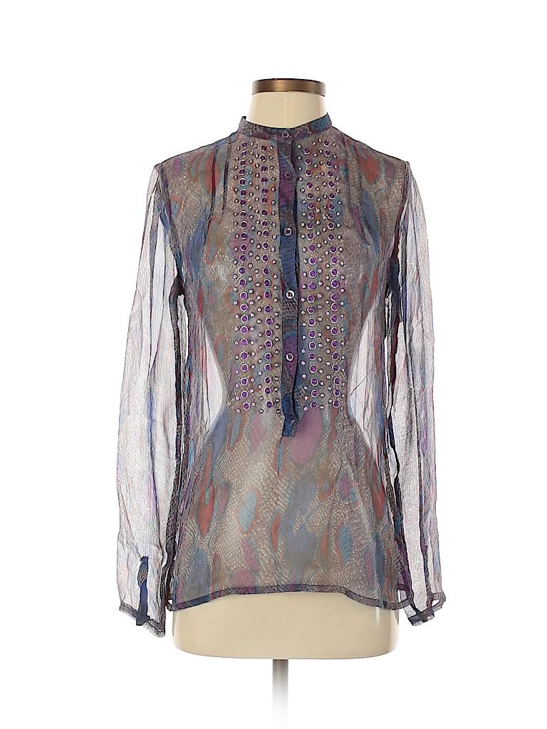 Antik Batik Women Long Sleeve Silk Top Size XS
