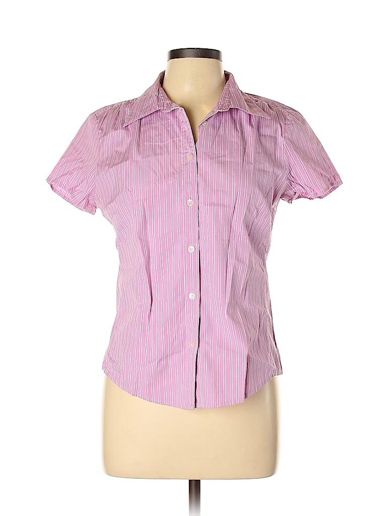 Gap Women Short Sleeve Button-Down Shirt Size L