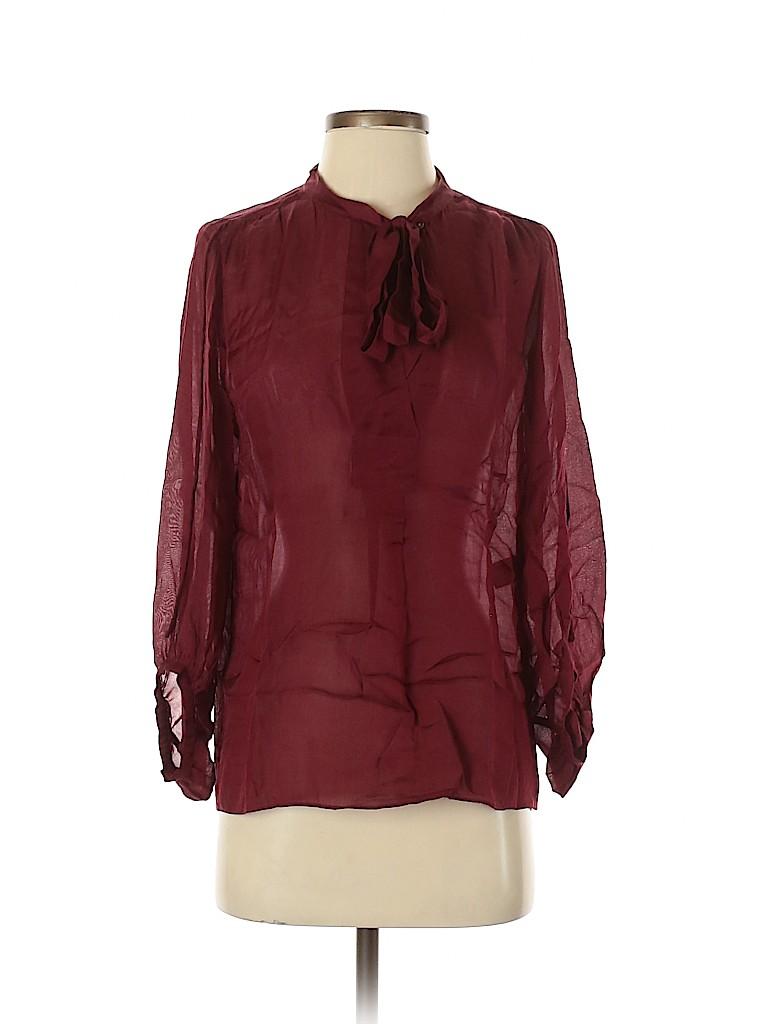 Diane von Furstenberg Women Long Sleeve Silk Top Size 4