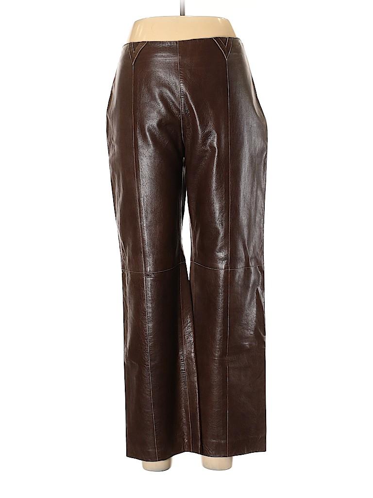 Armani Collezioni Women Leather Pants Size 10