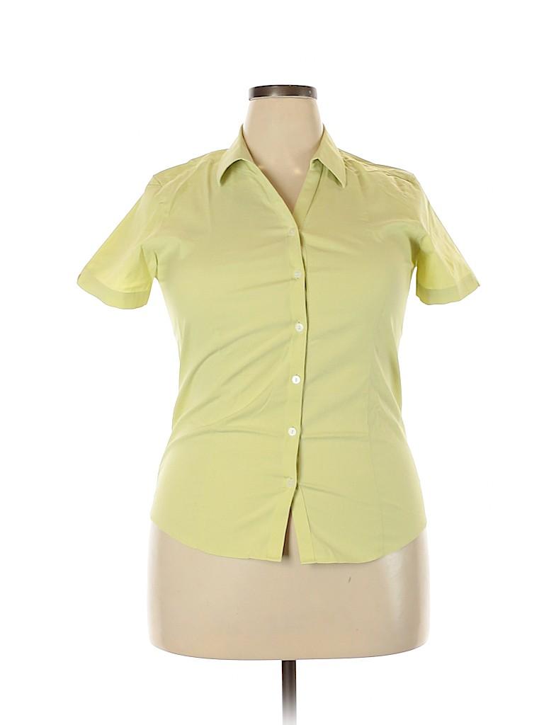 Eddie Bauer Women Short Sleeve Button-Down Shirt Size L