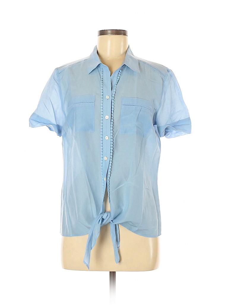 Ann Taylor Women Short Sleeve Button-Down Shirt Size M