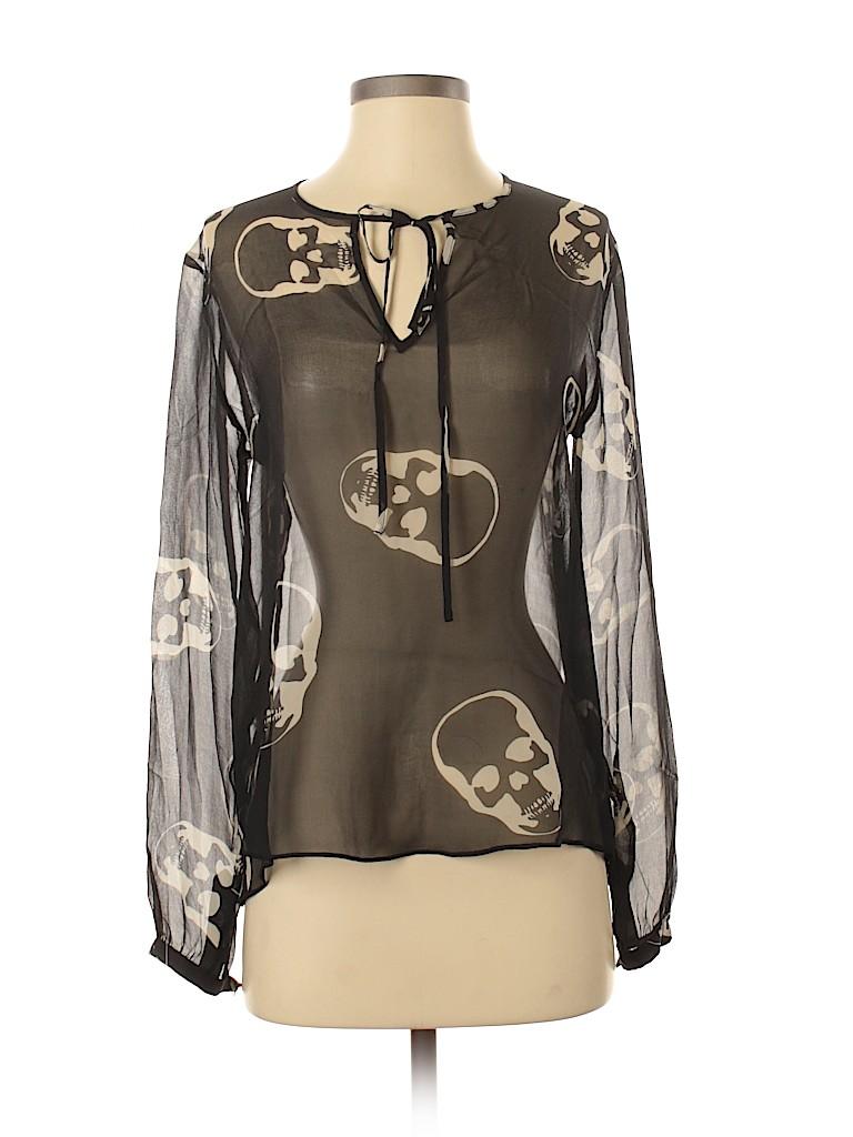E.Vil Women Long Sleeve Silk Top Size XS