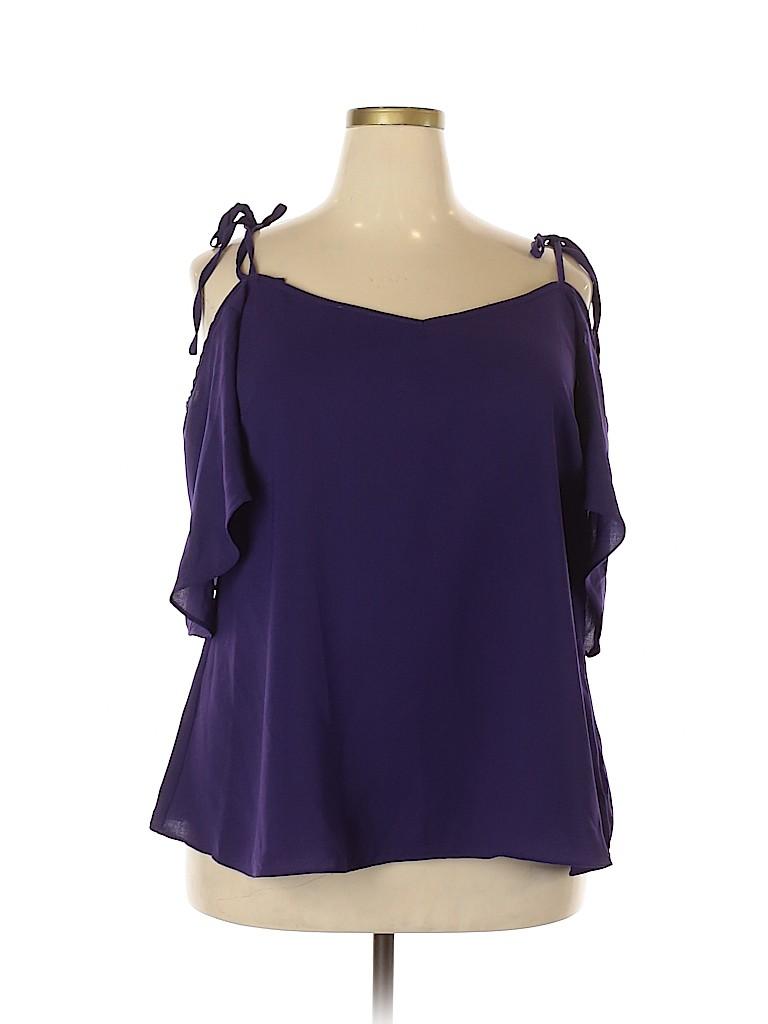 City Chic Women Short Sleeve Blouse Size 18 (Plus)