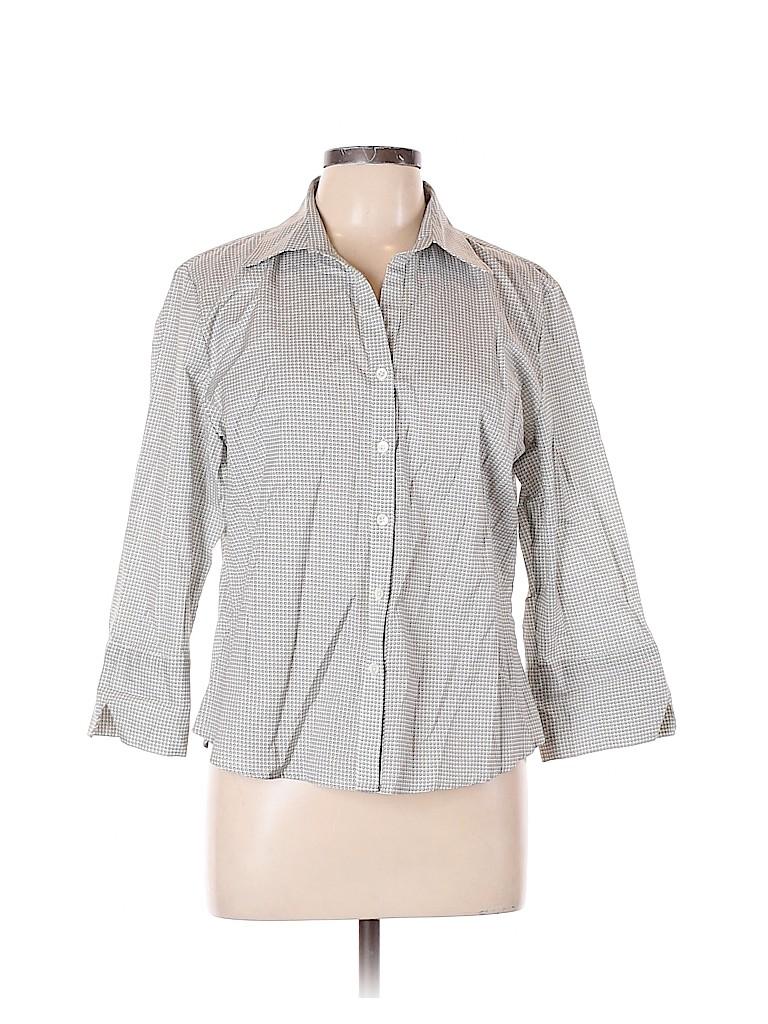 Faconnable Women 3/4 Sleeve Button-Down Shirt Size L