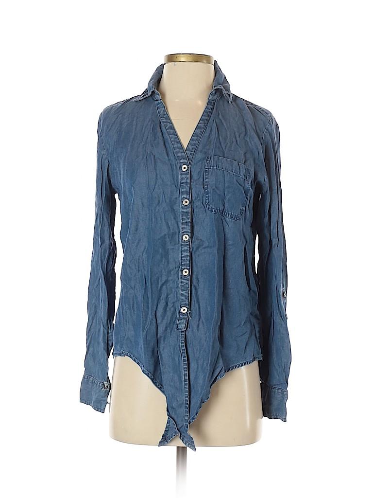 Soho JEANS NEW YORK & COMPANY Women Long Sleeve Button-Down Shirt Size S