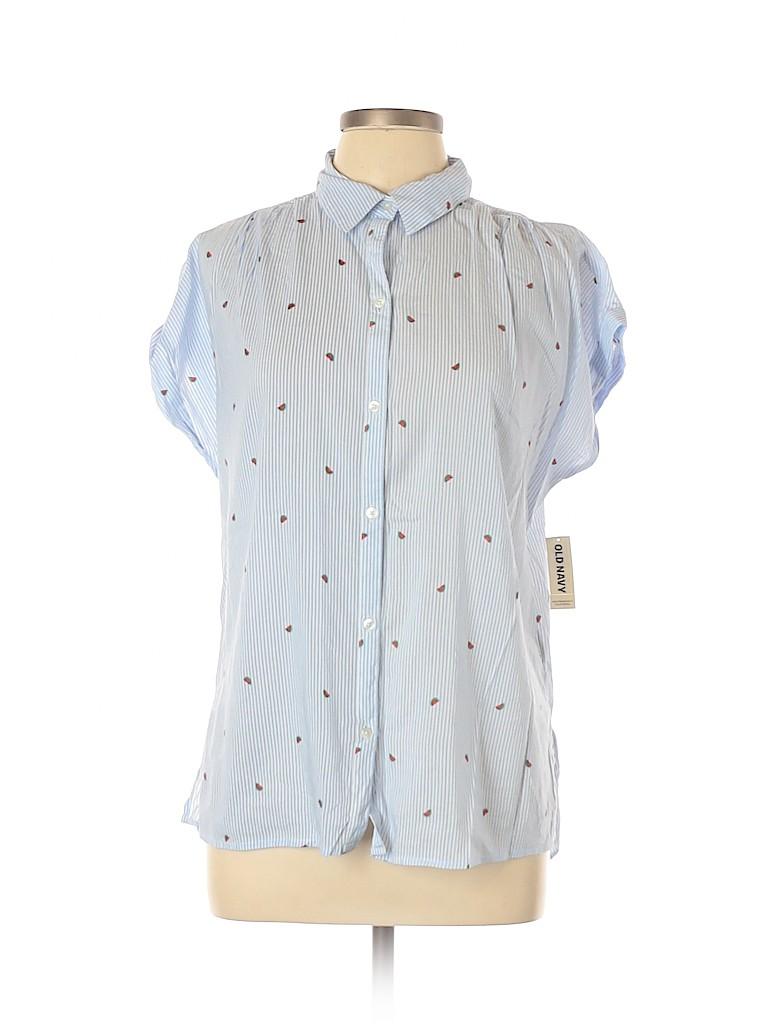 Old Navy Women Short Sleeve Button-Down Shirt Size L