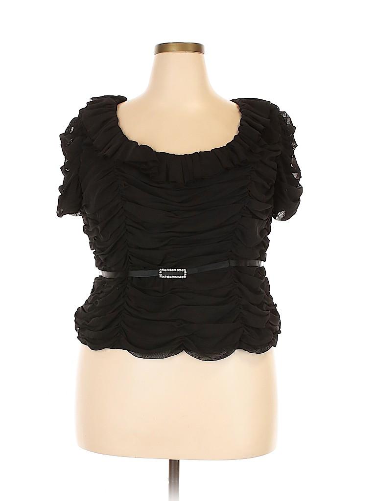 JS Collection Women Short Sleeve Blouse Size 16W