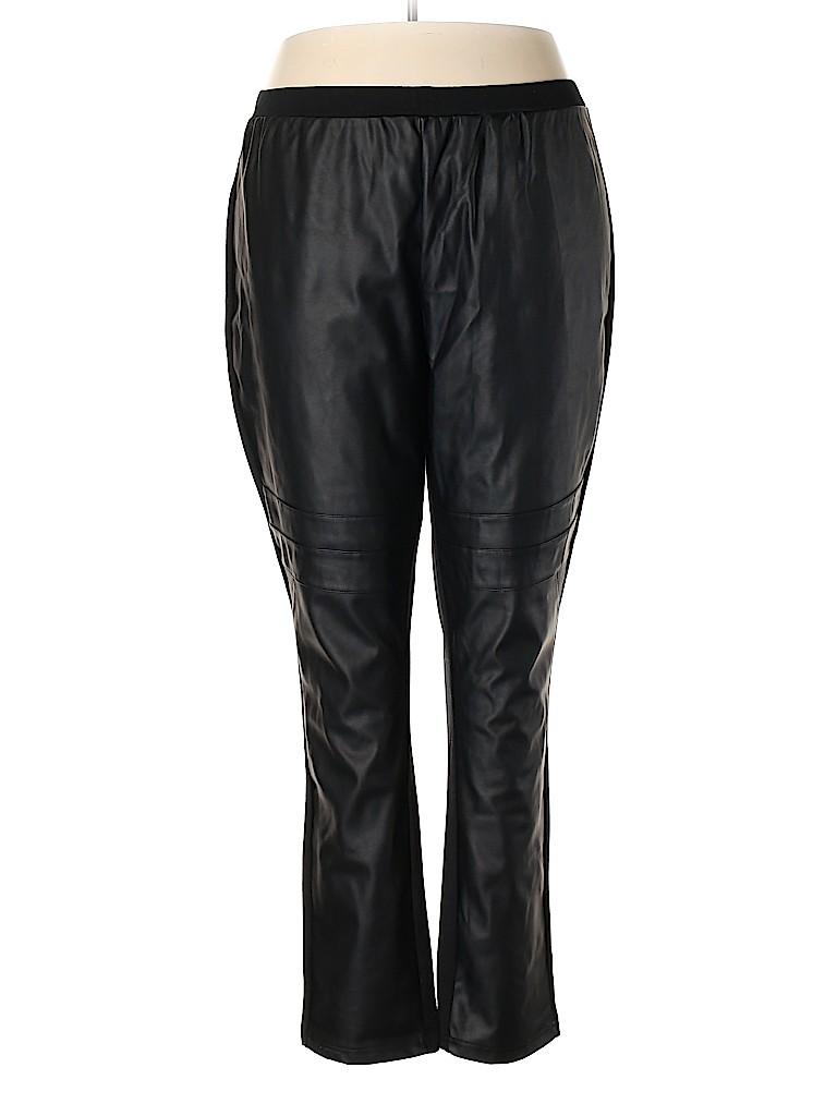 Pamela McCoy Women Faux Leather Pants Size 3X (Plus)