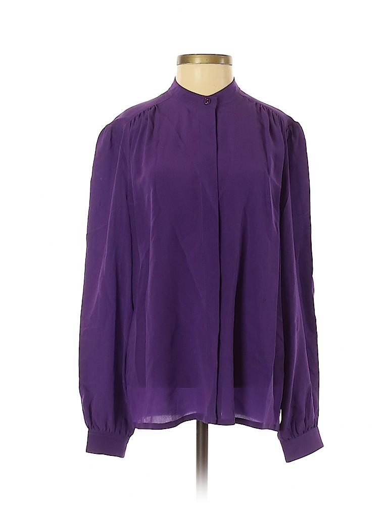 Tegan Women Long Sleeve Silk Top Size 4
