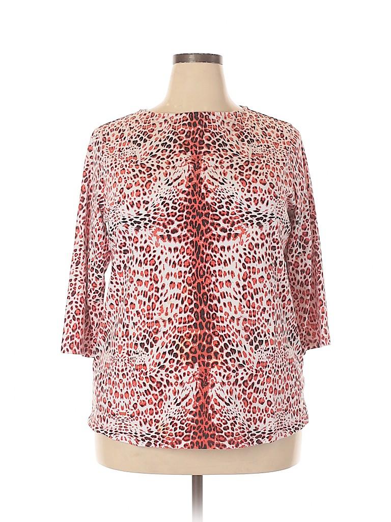 DG^2 by Diane Gilman Women 3/4 Sleeve T-Shirt Size 1X (Plus)