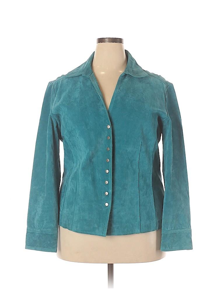 Cj Banks Women Leather Jacket Size 1X (Plus)