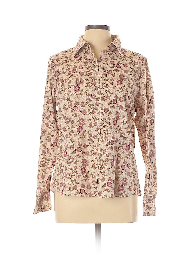 Eddie Bauer Women Long Sleeve Button-Down Shirt Size L