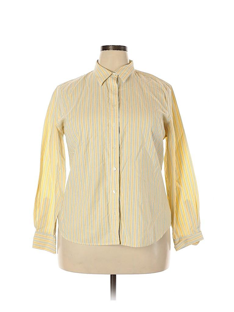 Lands' End Women Long Sleeve Button-Down Shirt Size 18 (Plus)