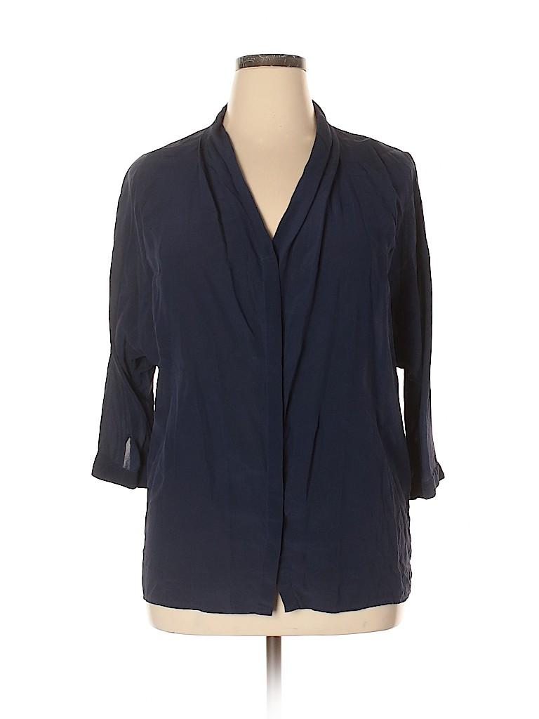 Marc Cain Women 3/4 Sleeve Silk Top Size 14 (N5)