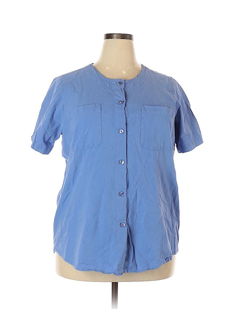 Woman Within Women Short Sleeve Button-Down Shirt Size 18 (L) (Plus)