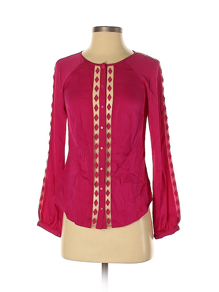 Catherine Malandrino Women Long Sleeve Silk Top Size 4