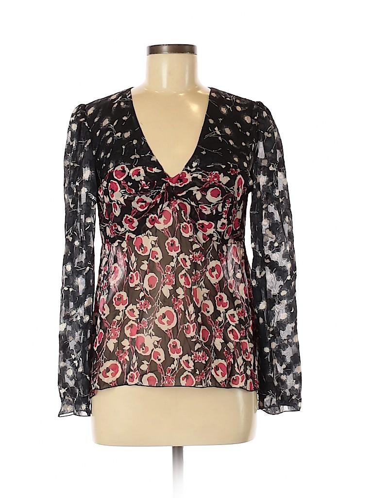 Anna Sui Women Long Sleeve Silk Top Size 8