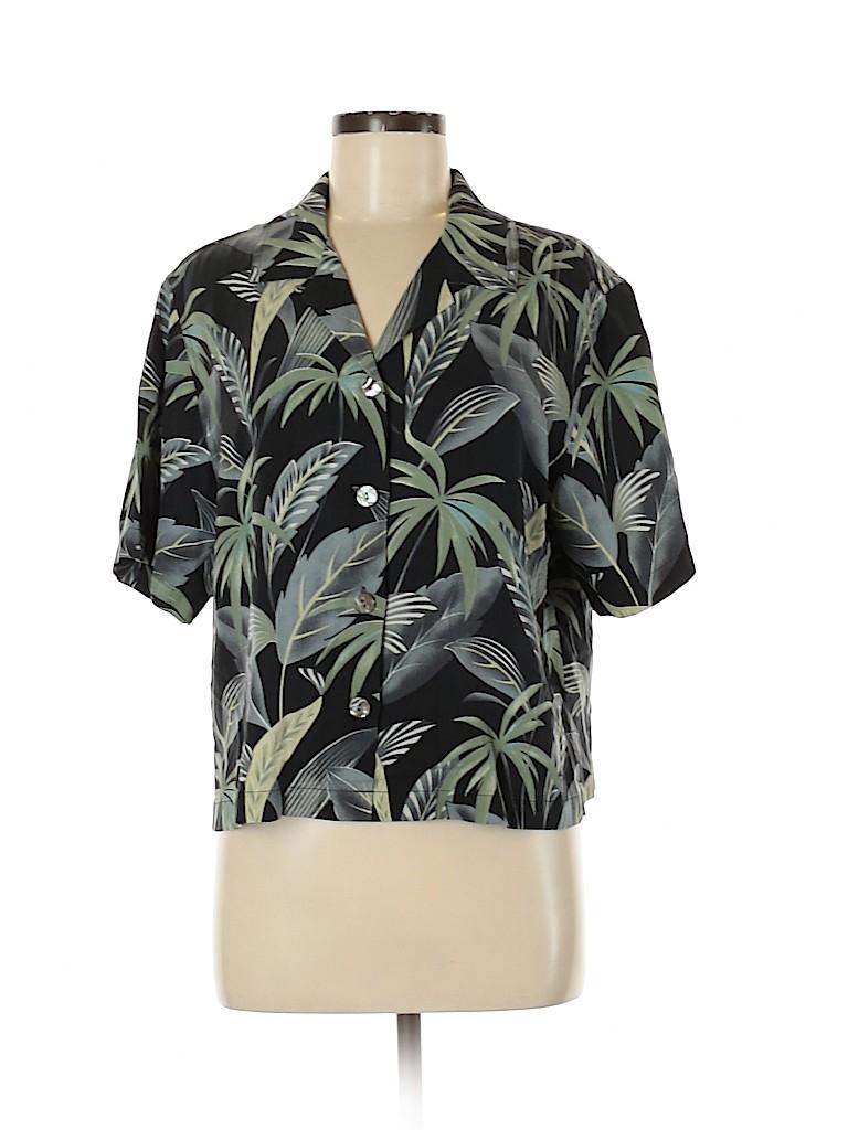 Tommy Bahama Women Short Sleeve Silk Top Size M