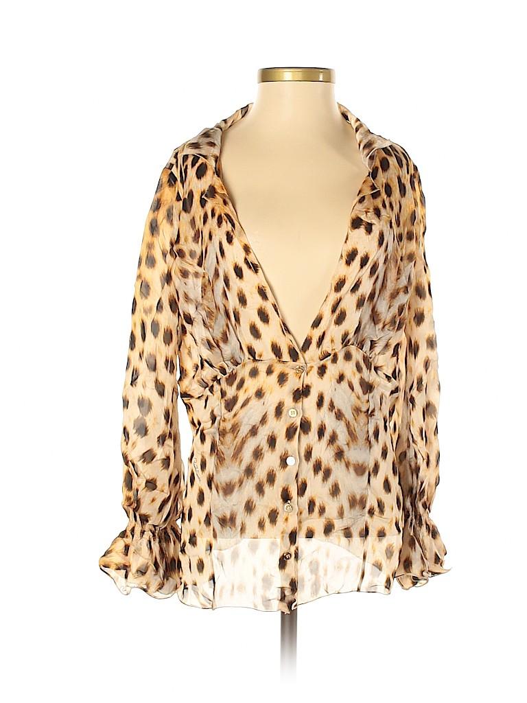 Roberto Cavalli Women Long Sleeve Silk Top Size 42 (IT)