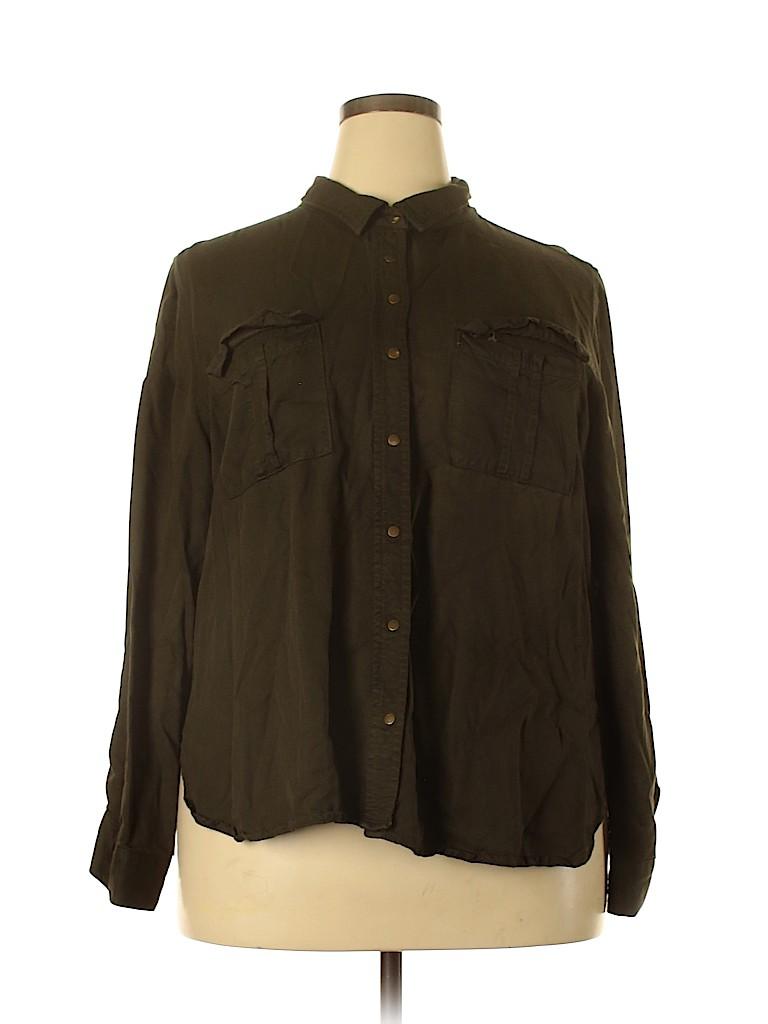 City Chic Women Long Sleeve Button-Down Shirt Size 18 Plus (M) (Plus)