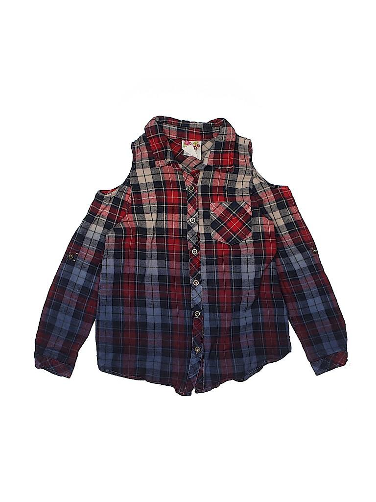 Kiddos Girls Long Sleeve Button-Down Shirt Size 10