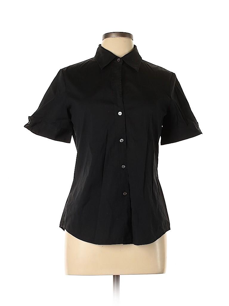 Theory Women Short Sleeve Button-Down Shirt Size L