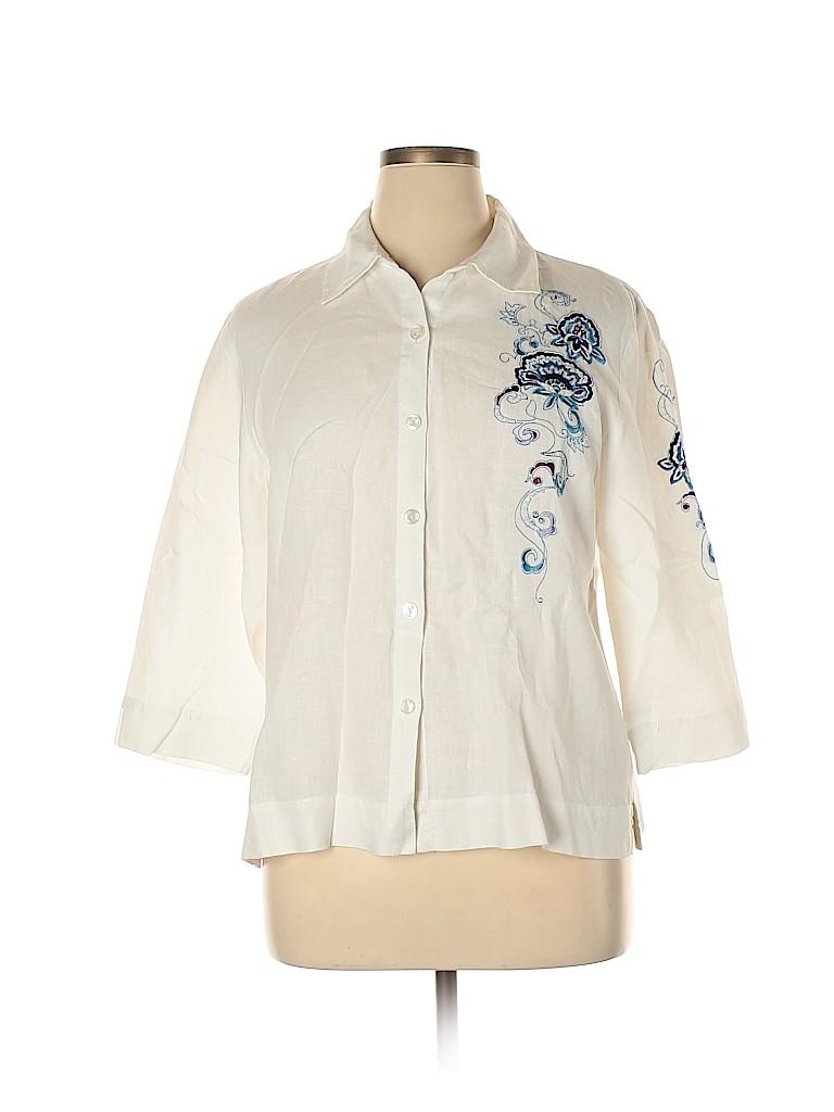 JM Collection Women 3/4 Sleeve Button-Down Shirt Size 14