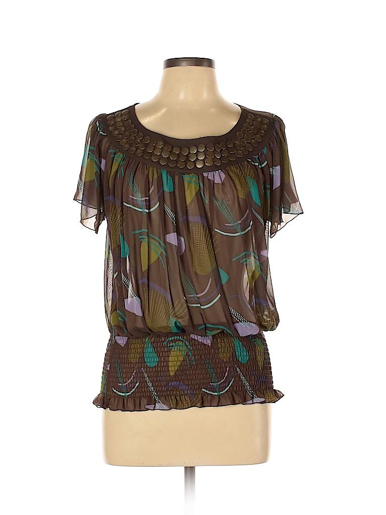 Bisou Bisou Women Short Sleeve Blouse Size L