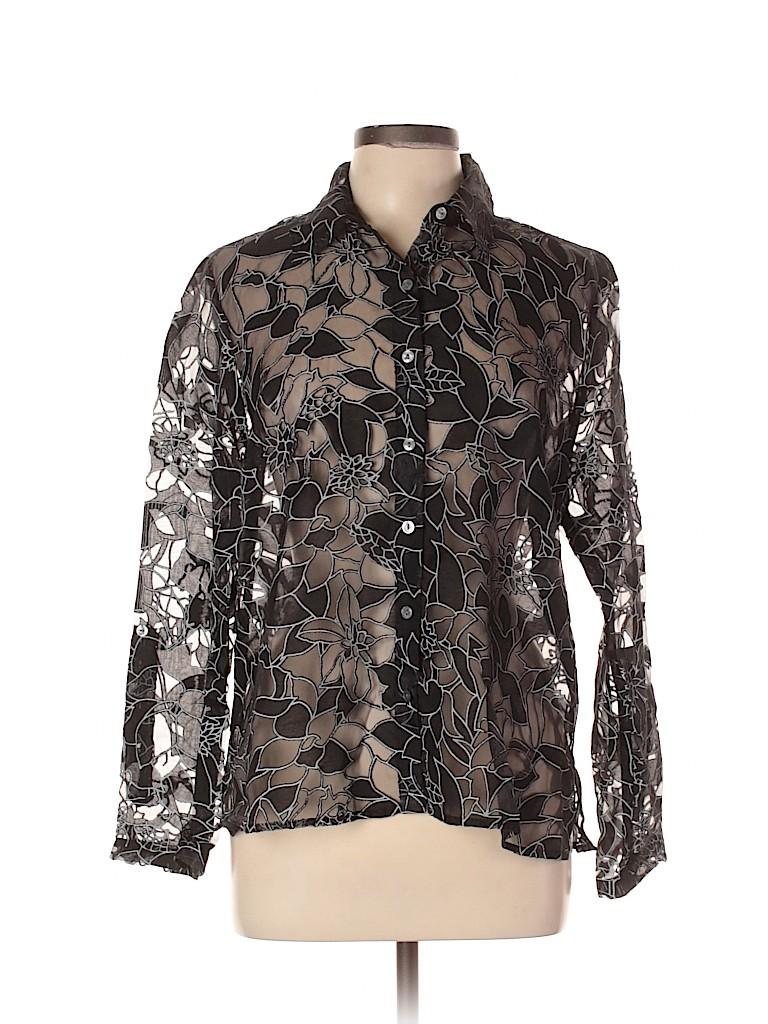 Notations Women Long Sleeve Button-Down Shirt Size L