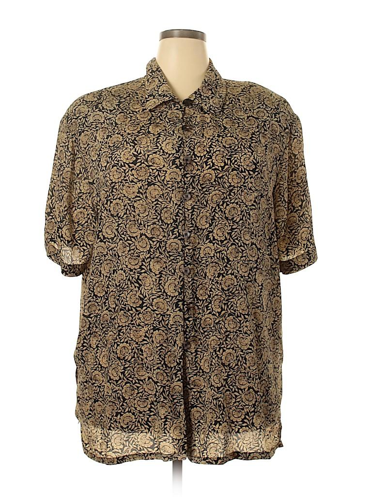 Jones New York Women Short Sleeve Silk Top Size 18 (Plus)
