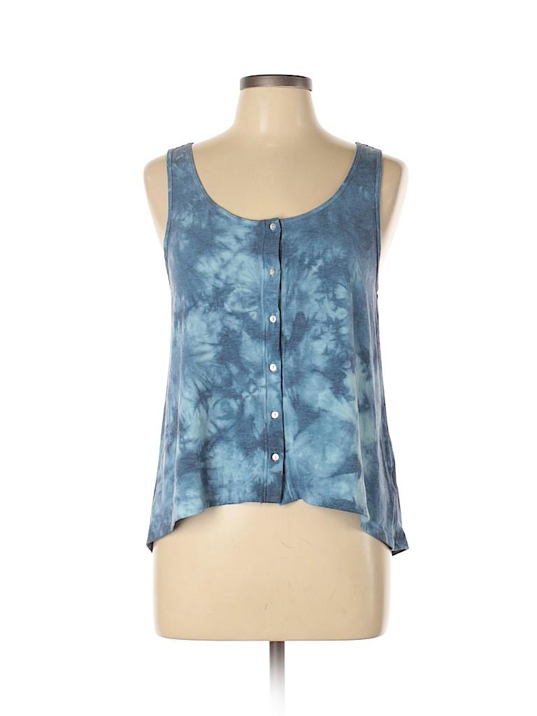 Mudd Women Sleeveless Button-Down Shirt Size L