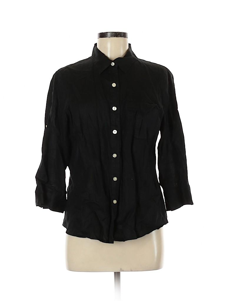 Talbots Women 3/4 Sleeve Button-Down Shirt Size M