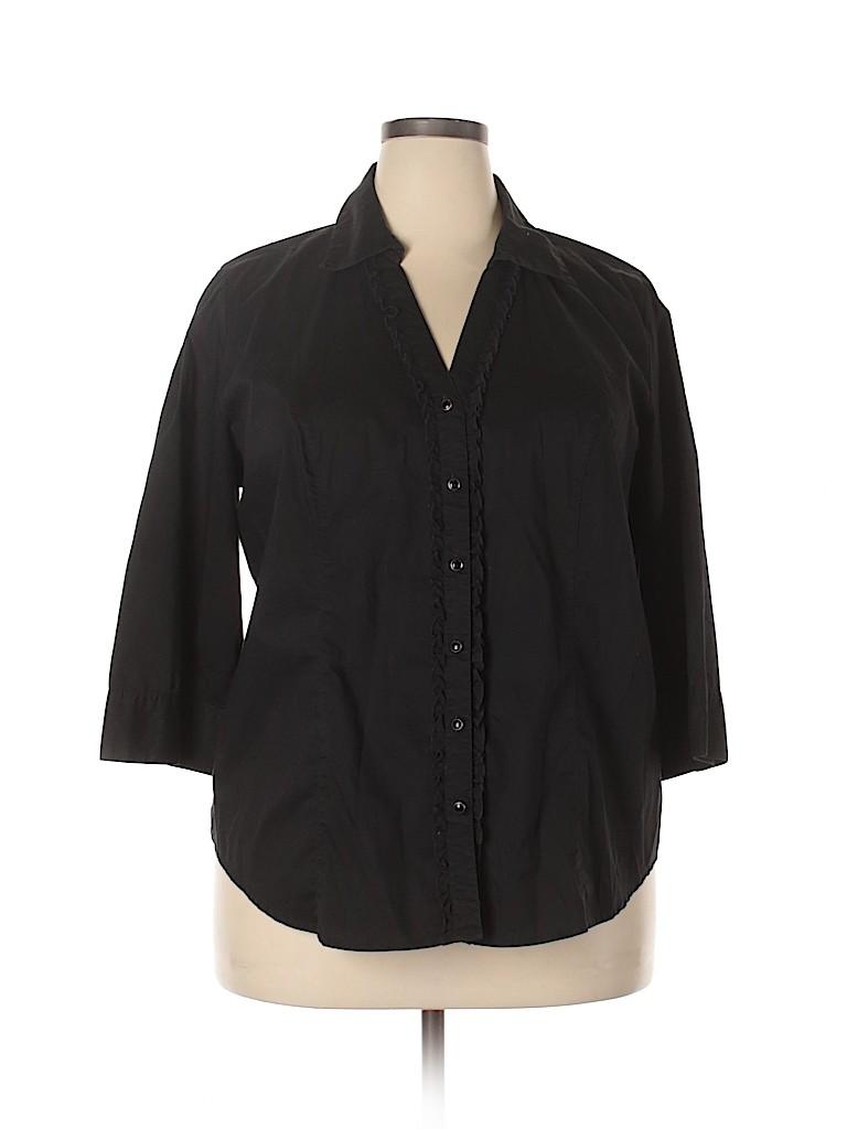Cato Women 3/4 Sleeve Button-Down Shirt Size 20w (Plus)
