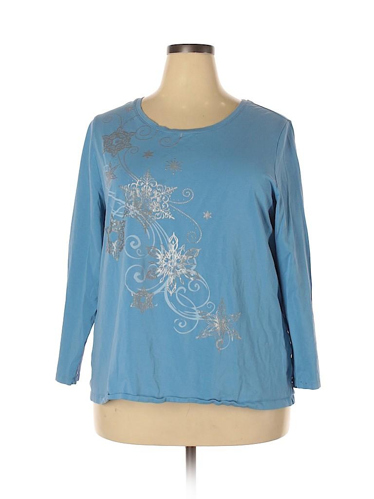Liz & Me for Catherines Women Long Sleeve T-Shirt Size 1X (Plus)