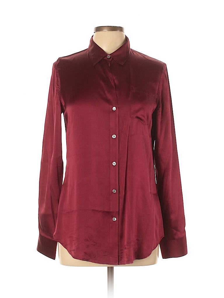 Theory Women Long Sleeve Silk Top Size L