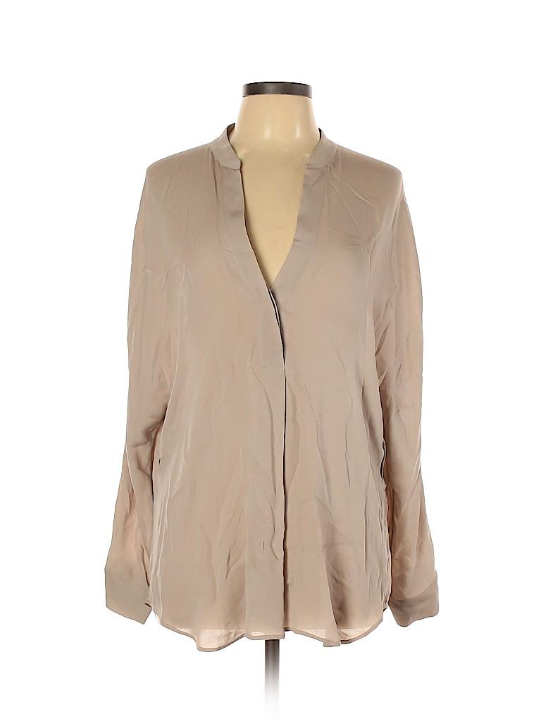 Vince. Women Long Sleeve Silk Top Size L